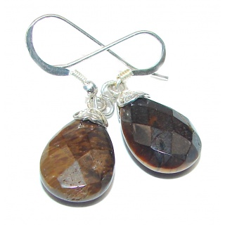 Genuine Golden Tigers Eye .925 Sterling Silver handmade Earrings