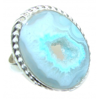 Huge Exotic Druzy Agate Sterling Silver Ring s. 9 1/4