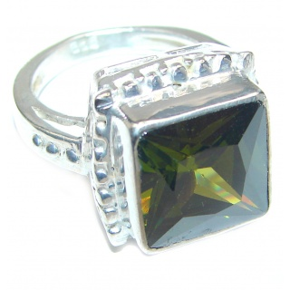Mysterious Green Quartz Sterling Silver handmad ring s. 7 1/4