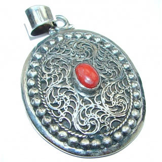 Authentic Coral .925 Sterling Silver handmade pendant