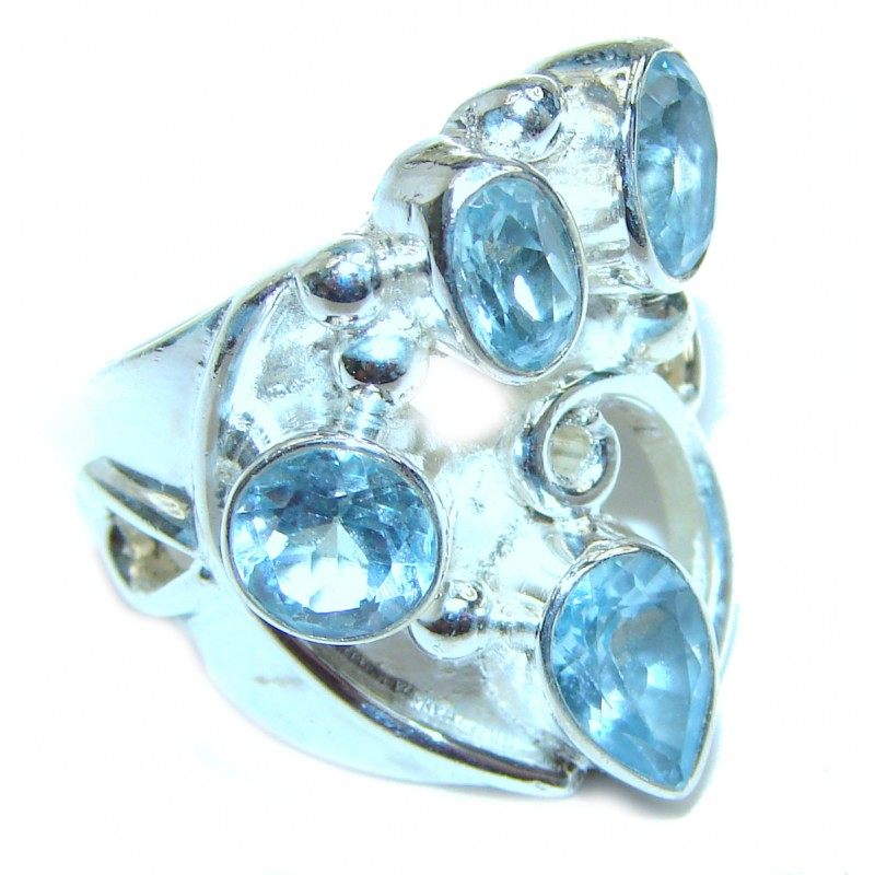 Melissa Genuine Swiss Blue Topaz .925 Sterling Silver handcrafted Statement Ring size 5 3/4