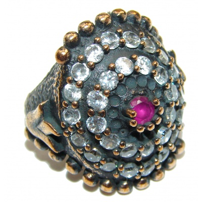 Victorian Style created Ruby & White Topaz Copper over Sterling Silver ring; s. 7