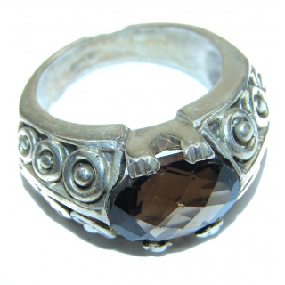 Very Bold Champagne Smoky Topaz .925 Sterling Silver Ring size 7
