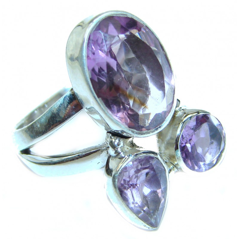 Alessandra Natural Amethyst .925 Sterling Silver handcrafted ring size 8 3/4