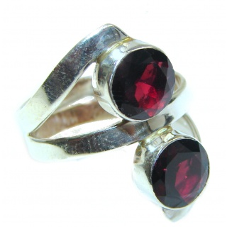 Large authentic Garnet .925 Sterling Silver handmade Ring size 7 3/4