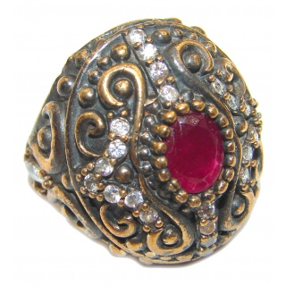 Victorian Style created Ruby & White Topaz Copper over Sterling Silver ring; s. 6 3/4