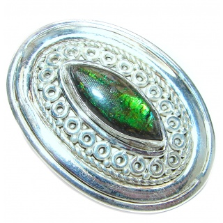 Genuine Canadian Ammolite .925 Sterling Silver handmade ring size 7