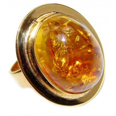 Excellent Vintage Design Baltic Amber .925 Sterling Silver handcrafted Ring s. 8 1/4