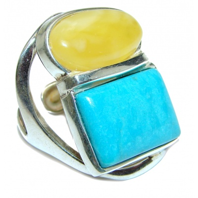 Real Beauty Butterscotch Baltic Amber Turquoise .925 Sterling Silver handmade Ring size 7 adjustable