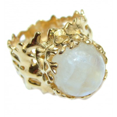 Fire Moonstone 18K Gold over .925 Sterling Silver handmade Ring size 6