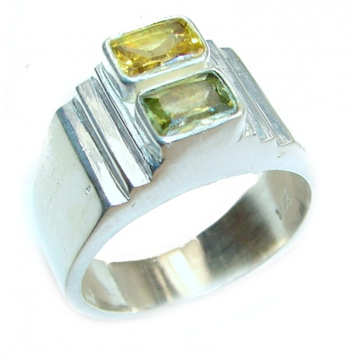 Vintage Style Natural Citrine .925 Sterling Silver handcrafted Ring s.11