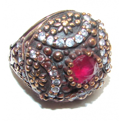 Victorian Style created Ruby & White Topaz Copper over Sterling Silver ring; s. 6 1/4