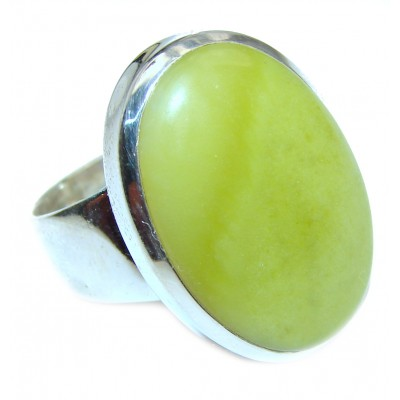 Natural Beauty Green Peruvian Opal .925 Sterling Silver ring s. 8 1/4