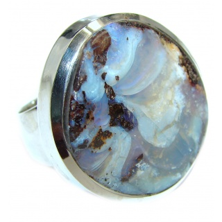 Australian Boulder Opal .925 Sterling Silver handcrafted ring size 7