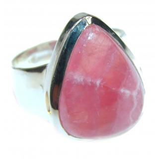 Large Argentinian Rhodochrosite .925 Sterling Silver handmade ring size 7