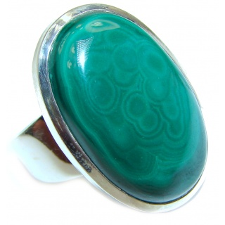 Natural Sublime quality Malachite .925 Sterling Silver handcrafted ring size 9