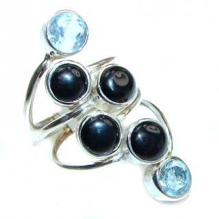 Secret Black Onyx Silver Tone ring s. 6