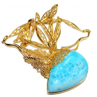 Great Masterpiece 42.5 grams genuine AAAAA QUALITY Larimar 24K Gold over .925 Sterling Silver handmade necklace