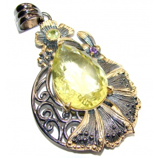 Genuine Citrine black rhodium over .925 Sterling Silver handmade Pendant