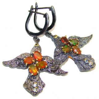 Dazzling natural Precious Mexican Fire Opal black rhodium over .925 handcrafted earrings