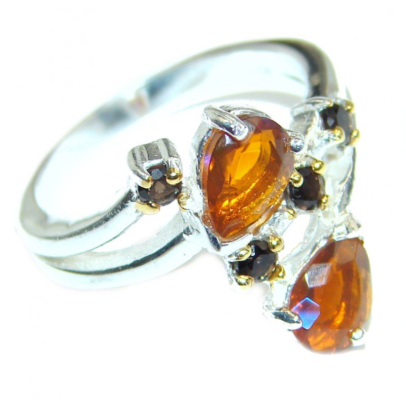 Fancy Mexican Fire Opal .925 Sterling Silver handcrafted ring size 7