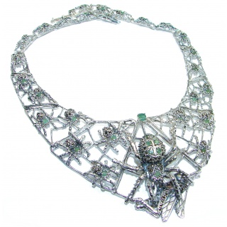 LARGE One of the kind Spider's web Colombian Emerald .925 Sterling Silver handmade necklace