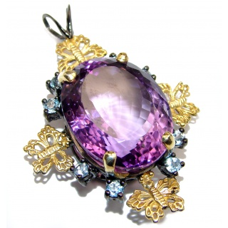 65CTW Amazing Amethyst 14K Gold over .925 Sterling Silver handcrafted pendant