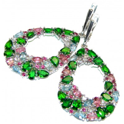 Incredible quality Chrome Diopside Tourmaline Aquamarine .925 Sterling Silver handcrafted earrings