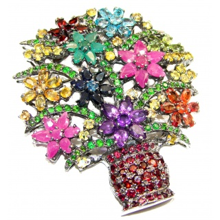 Large Summer Bouquet genuine Ruby black rhodium over .925 Sterling Silver handmade Pendant - Brooch