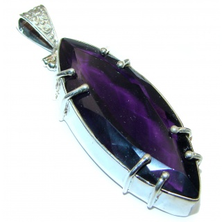Genuine Purple Quartz .925 Sterling Silver handcrafted Large Pendant
