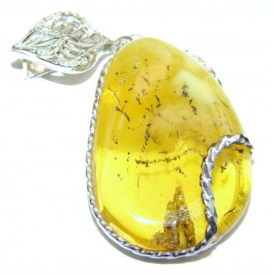 Incredible Beauty Natural Baltic Butterscotch Amber .925 Sterling Silver handmade Pendant