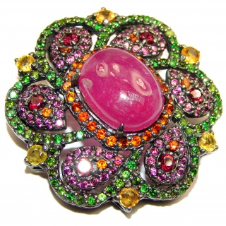 Large genuine Kashmir Ruby Garnet black rhodium .925 Sterling Silver handmade Pendant - Brooch