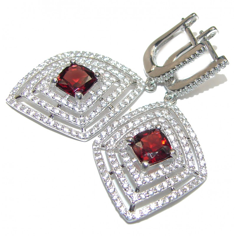 Huge Authentic 22ct Garnet .925 Sterling Silver handmade earrings