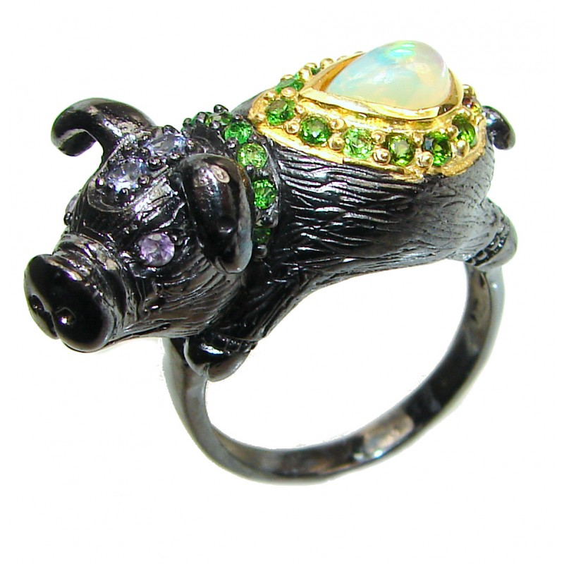 Lucky Pig Ethiopian Opal black rhodium over .925 Sterling Silver handcrafted ring size 9