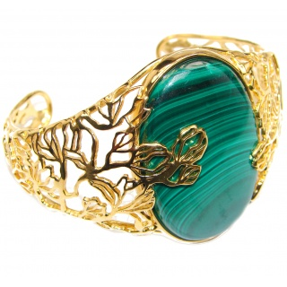 Natural Zambian Malachite 18k Gold over .925 Sterling Silver handcrafted Bracelet / Cuff