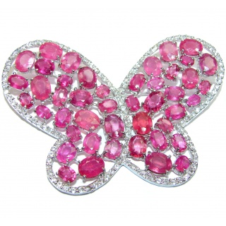 Large Butterfly genuine Kashmir Ruby .925 Sterling Silver handmade Pendant - Brooch