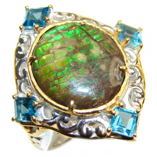 Genuine Canadian Ammolite 18K Gold over .925 Sterling Silver handmade ring size 7 1/4