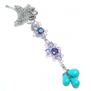 Genuine Turquise Tanznite .925 Sterling 925 Silver Necklace