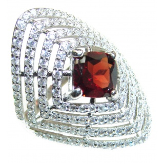 Large Natural Garnet .925 Sterling Silver Statement ring size 7 1/4