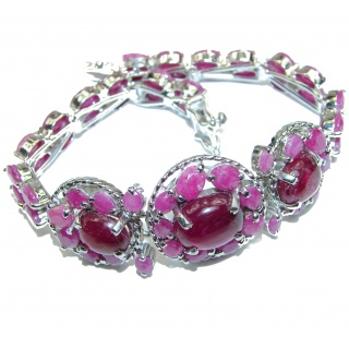 Authentic Spectacular Kashmir Ruby .925 Sterling Silver handcrafted Bracelet