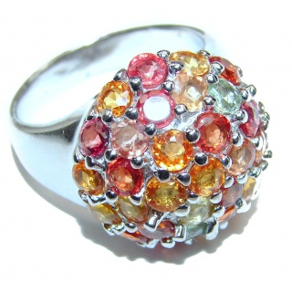 Genuine multicolor Sapphire .925 Sterling Silver handcrafted Ring size 7 1/4