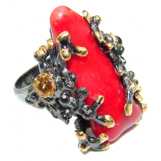 Natural Fossilized Coral 18K Gold over .925 Sterling Silver handmade ring s. 6