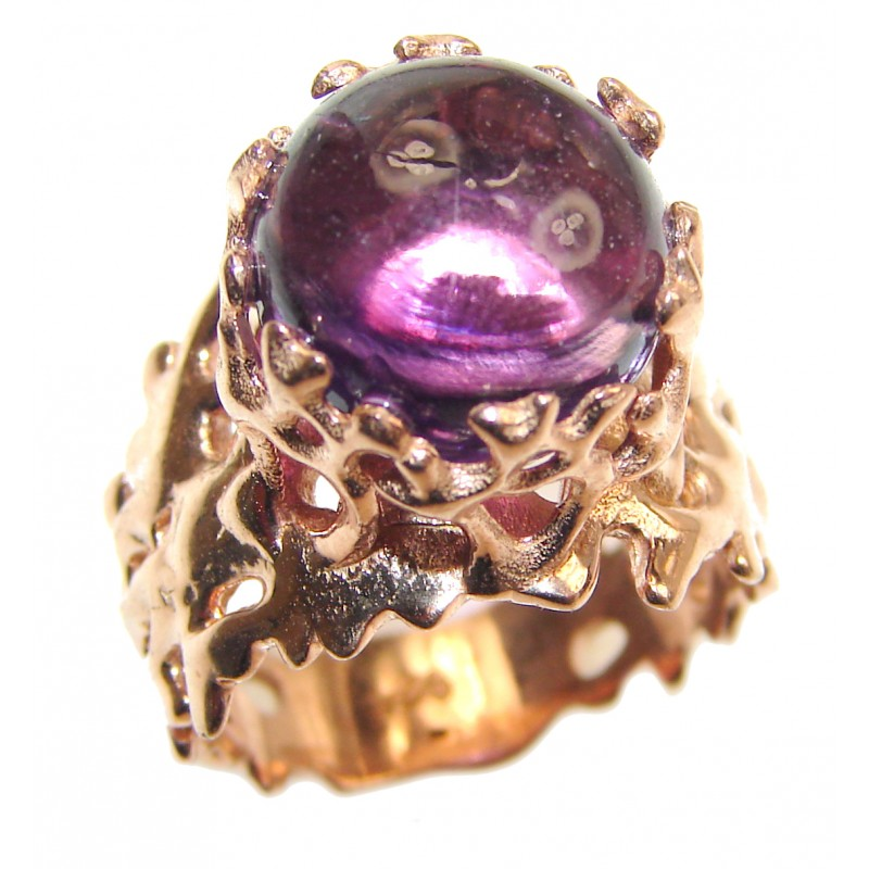 Purple Reef Amethyst Rose Gold over .925 Sterling Silver Ring size 7