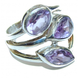 Alessandra Natural Amethyst .925 Sterling Silver handcrafted ring size 7