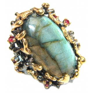 Vintage Design Genuine Labradorite 14K Gold over .925 Sterling Silver handmade Cocktail Ring s. 7
