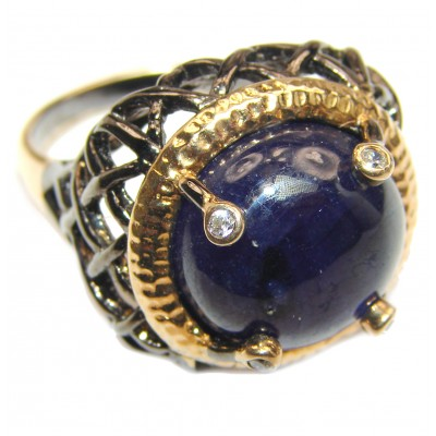 Large Genuine Kyanite Sapphire Black rhodium over .925 Sterling Silver handcrafted Statement Ring size 8 1/2