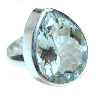 Alessandra Natural Green Amethyst .925 Sterling Silver handcrafted ring size 8