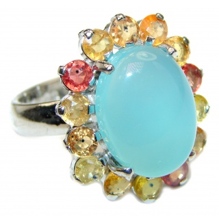 Enchanted Beauty Aquamarine .925 Sterling Silver ring size 8 1/4