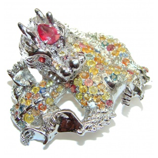 Large Dragon genuine Kashmir Ruby .925 Sterling Silver handmade Pendant - Brooch