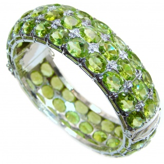 Large Glorious Natural Peridot .925 Sterling Silver Bangle bracelet